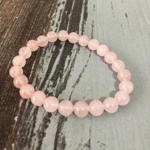 bracelet quartz rose en perles de pierre de 8mm