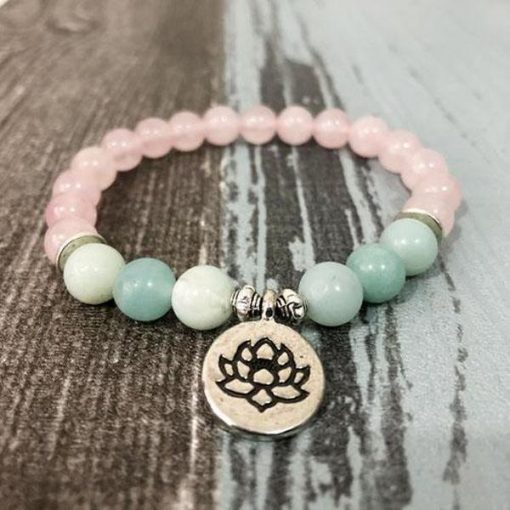 bracelet fleur de lotus en pierre amazonite et quartz rose