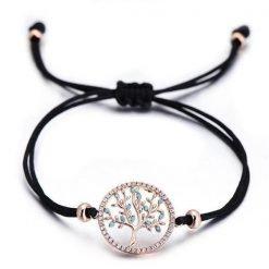 bracelet fil noir avec un charms arbre olivier or rose