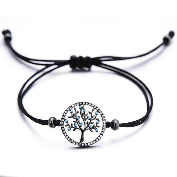 bracelet fil noir avec un charms arbre olivier noir