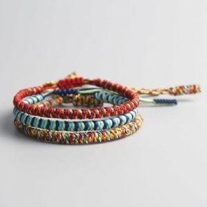 bracelet tressé multicolore tibetain