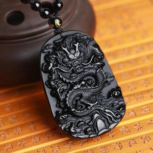 collier dragon en pierre naturelle obsidienne noire