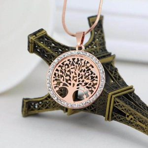 Collier Arbre de Vie strass brillant or rose