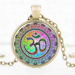 Collier 7 Chakras Symbole Aum or