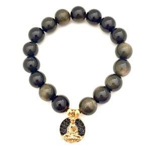 bracelet-bouddha-or-pierre-obsidienne
