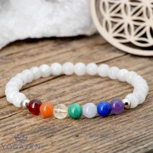bracelet 7 chakras pierre de lune argent 925