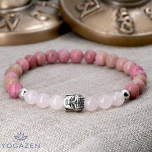 bracelet bouddhiste pierre quartz rose rhodonite argent 925