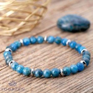 bracelet en pierre naturelle apatite bleue argent