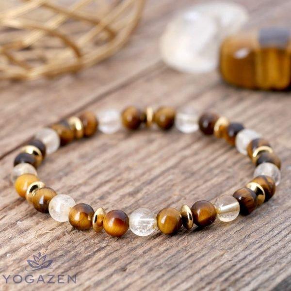 bracelet en pierre naturelle oeil de tigre citrine or