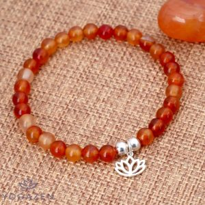 bracelet lotus en pierre cornaline orange argent 925