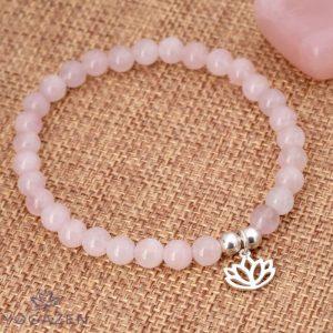 bracelet lotus en pierre quartz rose argent 925