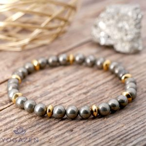 bracelet en pierre naturelle pyrite or